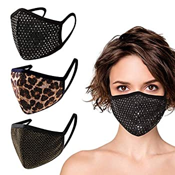 3 Pack Made in USA Unisex Silver Sequin/Metallic Gold Leopard Print/Metallic Gold 3D Face Mask – Protective Reusable Comfortable and Breathable Mouth and Nose Cover