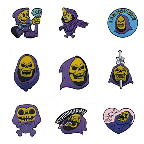 AKAMAS Personalized Creative Purple Turban Skull Enamel Brooch, Halloween Accessories,Suitable for a Variety of Costume Decorations (9 Pieces).
