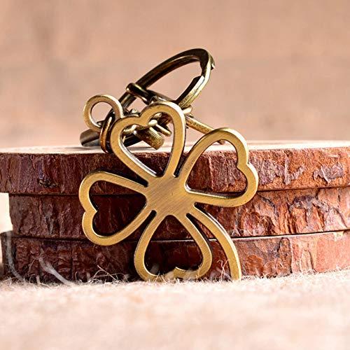 N/ A DIY Material Schlüsselbund Klee Schlüsselring Antik Bronze Vier Blätter Klee Brelok Glücksgeschenk Für Freunde