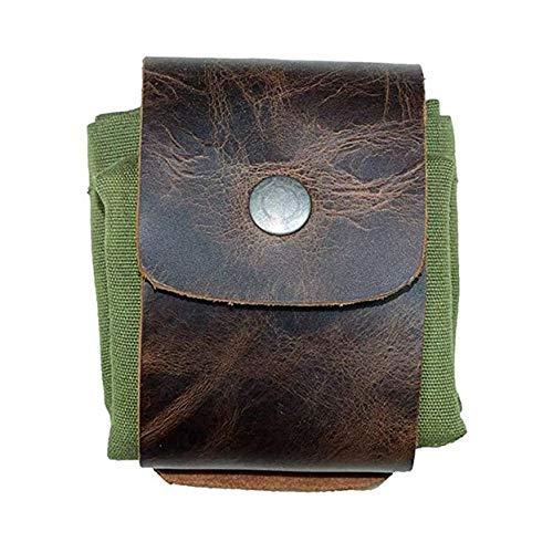 Bushcraft-Tasche aus Leder und Leinwand, zusammenklappbarer wasserdichter Canvas-Futtersackbeutel mit Kordelzug zum Wandern/Camping, praktisch und leicht (Green)