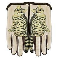 グローブ 手袋 スマホ対応手袋 猫模様 可愛い 裏起毛 ふわふわ おしゃれ タッチパネル対応 フリーサイズ 通勤 通学 男女兼用 ブラウン 230CAA