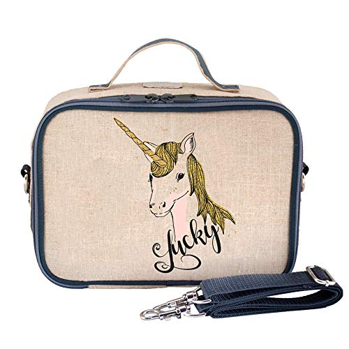 SoYoung Lunch Bag - Raw Linen, Eco-Friendly, Retro-Inspired and Easy to Clean (Lucky Unicorn)