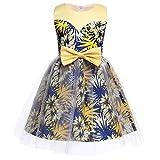 Qfeng - Vestido de niña con lazo a juego, vestido de princesa, vestido de princesa impreso, falda para bebé, vestido de novia, vestido de novia, vestido de novia, vestido de princesa, ropa de niños, Amarillo, 110 cm