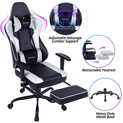 VON RACER Massage Gaming Chair Racing Office Chair - Adjustable Massage Lumbar Cushion, Retractable Footrest and Arms High Back Ergonomic Leather Computer Desk Chair, White/Black chair gaming white