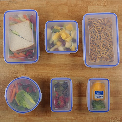 Zuvo: Plastic Resealable Food Storage Containers with Lids - 5pcs Set, Clip & Lock, Microwave Freezer & Dishwasher Safe, Leak & Crack Proof, BPA Free (5)