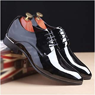 QinMei Zhou Business Oxford for Men Formal Dress Shoes Lace Up Patent PU Leather Classic Chic Anti Slip Waxy Shoelaces Office Pointed Toe Two Tones (Color : Gray, Size : 6.5 UK)