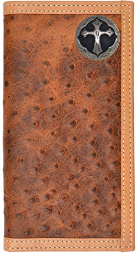 Custom Ornate Cross Long Ostrich Print Leather Wallet Brown