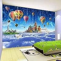 LHGBGBLN 3Dリビングルーム壁画壁紙星空城熱気球ソファ背景壁ステッカー寝室壁紙壁アート装飾