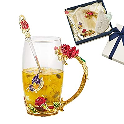 JLTPH Enamel Flower Glass Tea Cup, Clear Lead-Free Coffee Mugs with Spoon Cleaning Cloth, Tea Cup with Elaborate Handle for Women Birthday Valentines Wedding Day Mother's Day Gifts