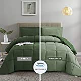 HIG 3pc Green Down Alternative Comforter Set King Size - All Season Reversible Comforter with Two Shams - Quilted Duvet Insert with Corner Tabs - Box Stitched - Breathable, Soft, Fluffy