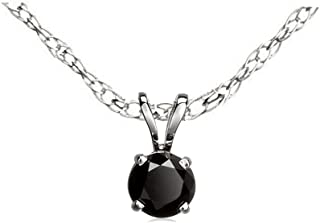 Dazzlingrock Collection 0.25 Carat (ctw) 14K Round Cut Black Diamond Ladies Solitaire Pendant 1/4 CT, White Gold