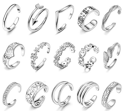 LOLIAS 15 Pcs Adjustable Open Toe Rings Set for Women Girls Knuckle Ring Stackable Rings Boho Vintage Finger Ring Wave Flower Celtic Knot Arrow Tail Band Fashion Ring Gifts Beach Sandals Foot Jewelry