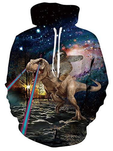 RAISEVERN Men Women Cool Hoodies Funny Pullover Galaxy Sloth Riding on Dinosaur Print Long Sleeve Shirts Black Casual Lightweight Hoody Funny Drawstring Hooded Sweatshirt with Pockets