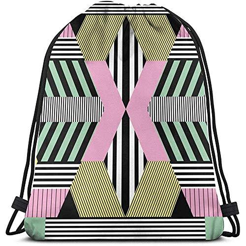 BOUIA Unisex Drawstring Bag Retro Bauhaus Style Rucksack Sport Gym Schultasche