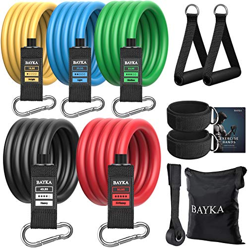 BAYKA Resistance Bands Set with Handles for Men/Women, Elastic Exercise Bands for Working Out, Workout Bands Gym Equipment for Home