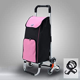 Foldable Shopping Grocery Cart Dolly, Aluminum Utility Stair Climber Trolley Cart Foldable Laundry Bag, Foldaway Stair Climbing Cart for Easy Storage (Color : Pink)