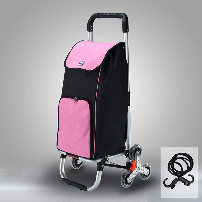 放出相互割れ目折り畳み式ショッピング食料品のカートのドリー、アルミニウム実用的な階段クライマーのトロリーカートの折り畳み式の洗濯袋、容易な貯蔵のための折り畳み式の階段クライミングカート (色 : ピンク)