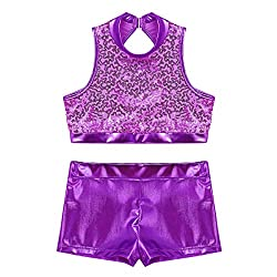 Cutout Back Purple 2-Piece Active Sequin Top and Booty Short