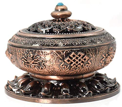Buycrafty Unique Round Incense Burner Cover Lotus Flower Shaped Incense Holder for Stick Cone Incense EB - 03