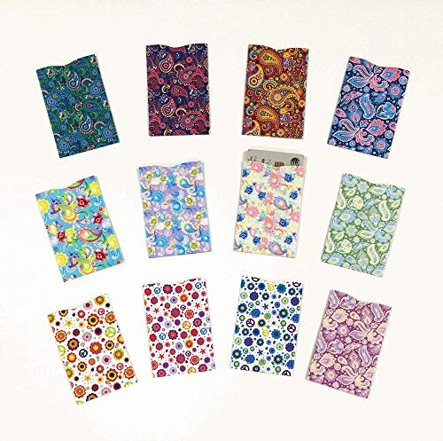 Designer Pattern (Set B), 12 Credit Card Sleeves, Created from FIPS 201 Approved RFID Blocking Laminate