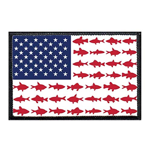 US Flag - Fish Morale Patch | Hook and Loop Attach for Hats, Jeans, Vest, Coat | 2x3 in | by Pull Patch