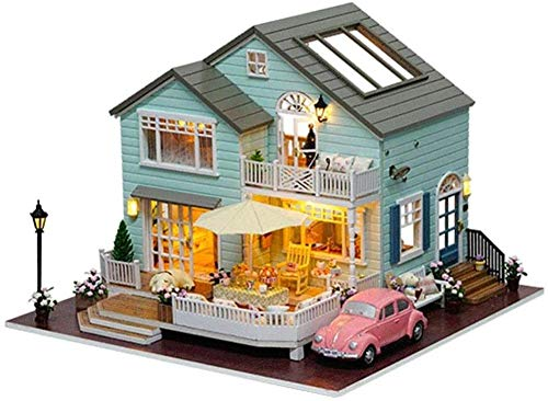 Apxlity 3D Puzzles Miniature Dollhouse DIY Kit w/Light Provence Series Dolls Houses Accessories with Furniture LED Music Box Best Birthday Gift