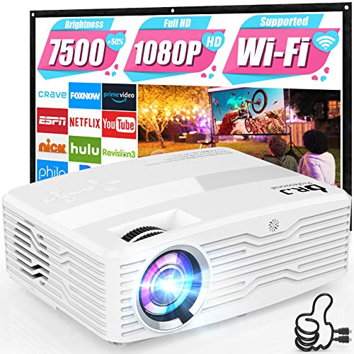 WiFi Projector, Full HD Native 1080P Projector 7500Lumens LCD Projector for Outdoor Movies, Wireless Mirroring/4K/Smartphone/TV Stick/HDMI/USB Supported [Portable Projector Screen Included]