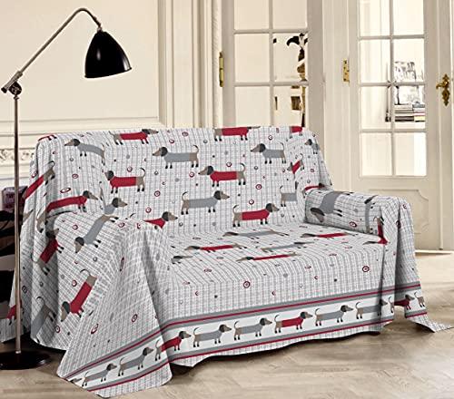 HomeLife - Überwurf für Sofa, bunt gemustert, Dackelh&e, 180 x 290 cm, hergestellt in Italien – Mehrzweck-Überwurf aus Baumwolle – Granfoulard Sommer-Tagesdecke – Rot