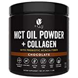 MCT Oil Powder with Collagen and Prebiotic Acacia - Pure MCT's - Perfect for Keto - Energy Boost - Nutrient Absorption - Appetite Control - Healthy Gut Support – Chocolate