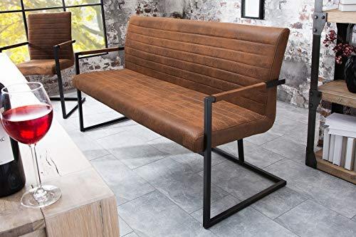 Licht-Erlebnisse Design Bank grau schwarz 160cm Mikrofaser Loft Industrie Sitzbank
