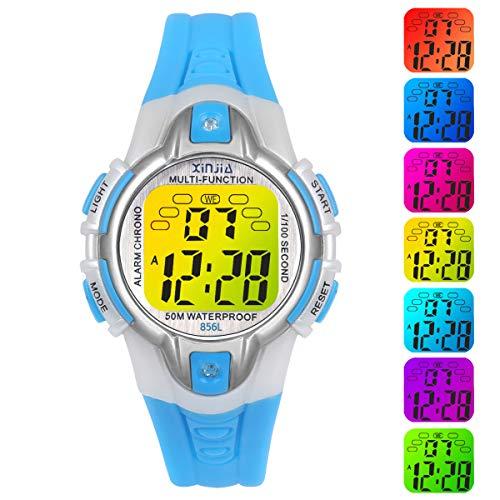 Reloj Niño Niña Digital,7 Colores 50M Impermeables Relojes de Pulsera Infantil Deportivos de Pulsera Multifuncionales para Exteriores con Cronómetro/Alarma para Niños 5-15 años