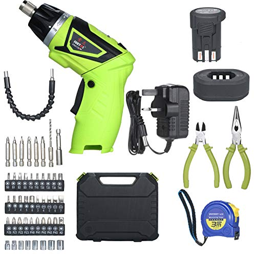 Quick Release 6.0N.m Cordless Electric Screwdriver Rechargeable 1500mAh Li-ion with 40 Accessories Pliers and Tape Measure 7 Torque Setting 2 Position Handle with LED Light Battery Indicator