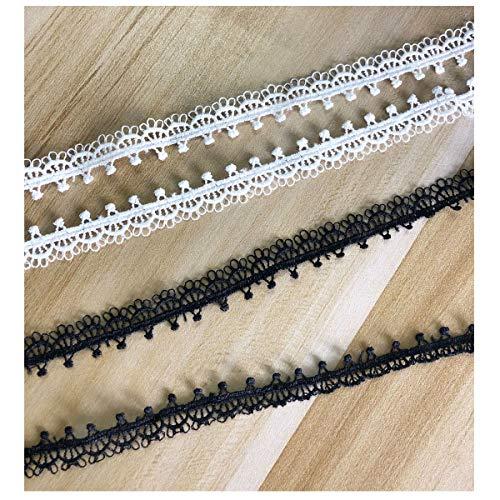 Tangger 1.2cm*27m Spitzenband Weiß und Schwarz Spitzenbordüre Vintage Dekoband Zierband für Nähen Handwerk Hochzeit Deko Geschenkbox
