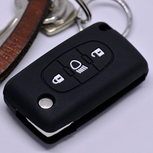 Soft Case Schutz Hülle Auto Schlüssel für Citroen C4 Picasso C5 C8 Dispatch Jumpy Flip Key Klappschlüssel/Farbe Schwarz