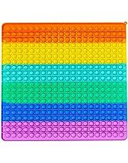 Duży rozmiar Push Pop Bubble Sensory Fidget zabawki, ogromny tęczowy Pop it kwadratowy Fidget wyciskanie sensoryczna zabawka dla dorosłych dzieci (400 mm)