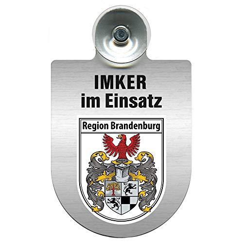 Einsatzschild mit Saugnapf - Imker im Einsatz 309382 incl. Regionenwappen nach Wahl Farbe Region Brandenburg