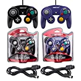Black and Purple Controllers and 6ft Extension Cable Set - Compatible with Gamecube