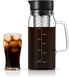 Soulhand Cold Brew Iced Coffee Maker Cold Coffee Maker Cold Brew Pitcher-34oz/1.0ML Borosilicate Glass Hot & Cold Tea Brewing Cold Brew System with Removable Filter for Home Office Coffee and Tea