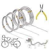 Alambre para manualidades, 4 rollos de alambre de aluminio plateado, 0,8 mm, 1,0 mm, 1,5 mm, alambre de metal flexible de 2,0 mm para modelado de joyas, escultura y manualidades (5 m/rollo)