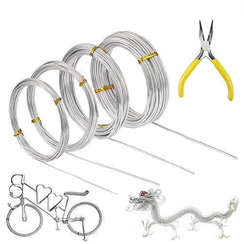 Alambre para manualidades, 4 rollos de alambre de aluminio plateado, 0,8 mm, 1,0 mm, 1,5 mm, alambre de metal flexible de 2,0...