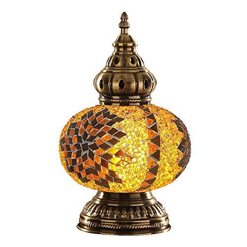 Lámpara de escritorio de lectura Moderna lámpara de mesa de vidrio minimalista, metal, proceso de fundición, óxido, parche de mosaico de color hecho a mano, lámpara de noche turca Lámpara de mesa de i