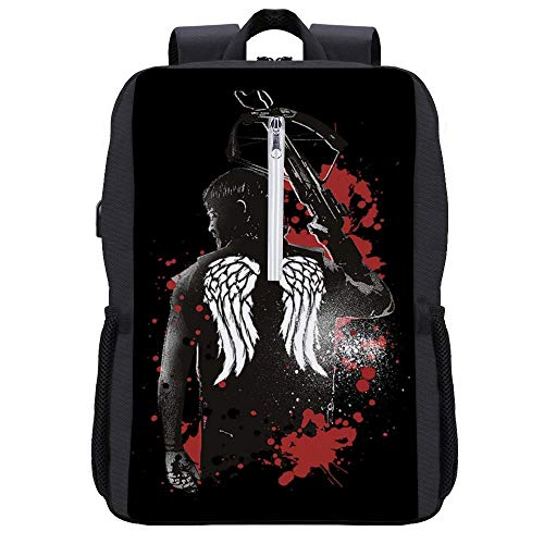 Walking Dead Daryl Dixon Wings And Crossbow Backpack Daypack Rucksack Laptop Shoulder Bag with USB Charging Port