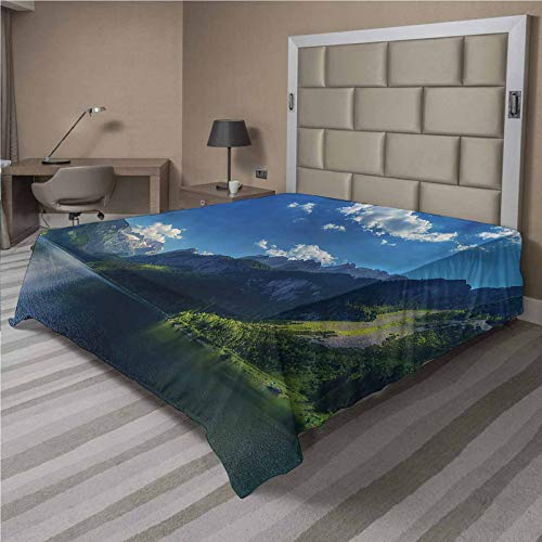 LCGGDB Landscape Flat Top Sheet,Alps Morning Cloudscape Soft Comfortable Top Sheet Decorative Bedding 1 Piece,Twin Size,Fit for Oversize and Extra Height Twin Bed
