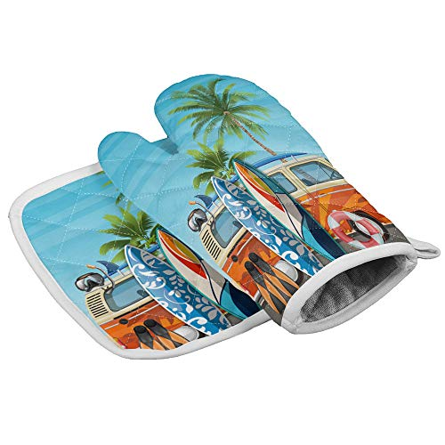 Oven Mitts and Potholders SetHeat Resistant Kitchen Gloves Summer Van with Diving Equipment and Surfboards on the Beach Polyester Non-Slip Mitt for CookingBakingGrillingBBQ