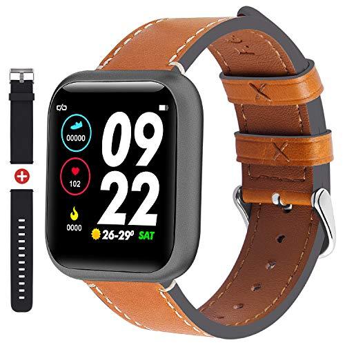 Fullmosa Smartwatch für Herren Damen, Fitnessuhr mit Herzfrequenzmesser, 1,3 Zoll Touchscreen, IP68 Wasserdicht Fitness Tracker mit Schrittzähler, Smart Watch kompatibler iOS Android