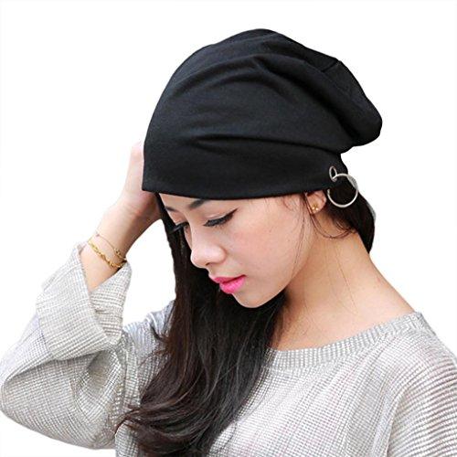 HuntGold chaud unisexe Coton doux Hip Hop Anneau en métal chaud Bonnet Chapeau de bordure à feuillage (Noir)