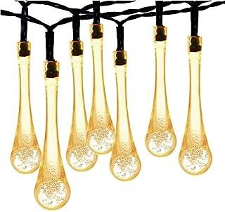 30 LED Solar String Lights, Waterproof Fairy Water Drop Lights-Warm White