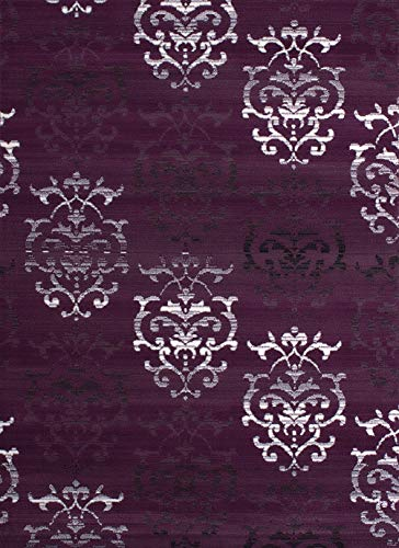 United Weavers of America Dallas Countess Rug - 5 ft. 3 in. x 7 ft. 2 in, Lilac, Area Rug with Abstract Pattern, Jute Backing (809014239815)