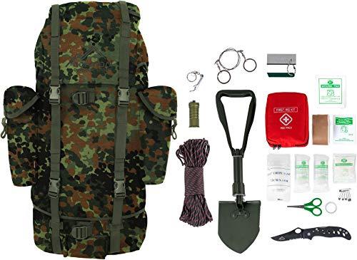 Survival Überlebens Set BW Bundeswehr Rucksack + Bundeswehr Mini Spaten nach TL + Einhandmesser + Erste Hilfe Notfall Kit + Drahtsäge + Flaschenöffner + Fire Rope in versch. Farben Farbe Flecktarn