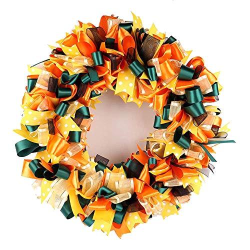 Yw-Flower hangende krans decoratie, bonte band-krans kerstdecoratie accessoires, geschikt voor bruiloft, familie, huisdeur, feest